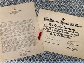 Red Cross Certificate and badge from WW2