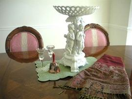 Porcelain china 3 figurine compote, Waterford Crystal candle sticks.