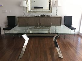"Tempered Glass Table with Polished Stainless Base: 63 x 36 x 30 AND 16"" Extending Leaves"