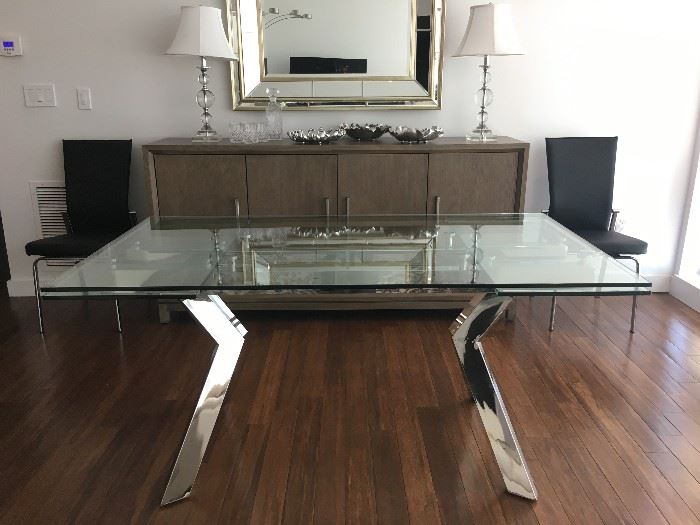 """Tempered Glass Table with Polished Stainless Base: 63 x 36 x 30 AND 16"""" Extending Leaves"""