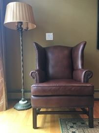 Pottery Barn Leather Wingback Armchairs with Nail Head Trim