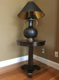 Round Pedestal Lamp Stand, Hand Hammered Lamp