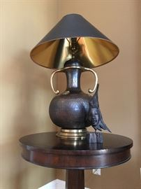 Brass Accented Hammered Copper Lamp, Carved Bust