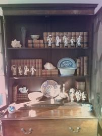 Gorgeous Baker Secretary...Antique Books...Repaired Blue and White Canton Chestnut Bowl with Underplate...and some very well molded Japanese plastic