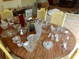 Nice Crystal.  Waterford, Candlewick, Marquis.  And and Oval Dining Table w/2 leaves and 6 Chairs
