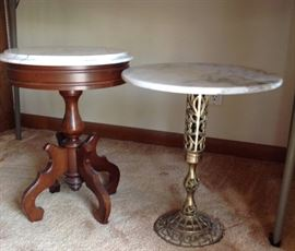 These are the 2 Smaller Antique Marble Top Tables.