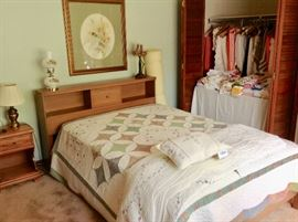 Queen Bed w/Mid-Century Head Board.  Queen Mattress Set is in really good condition.  Beautiful Quilt.