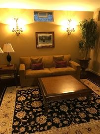 """Arhaus Conley sofa. 42"""" square coffee table and side table. Handmade area rug from Turkey."""
