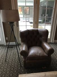 Arhaus Beacon tufted leather chair