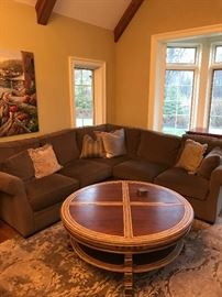 Arhaus Lisbon round coffee table and square side table. Arhaus Landsbury 3 piece sectional
