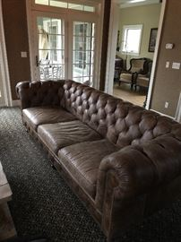 Arhaus Wessex tufted leather sofa