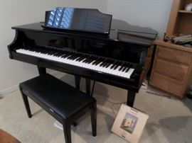 Sherman Clay Black Ebony Baby GRand Piano made by Kimball  Co.  sm. scale great for condo or apartment