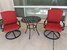 Pr. Black Iron Swivel Patio Chairs-cushions & center table  included