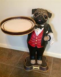 Pug butler statue