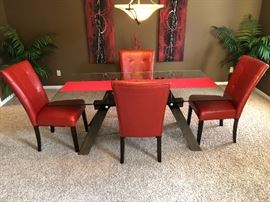 Glass Top Dining Room Set with 4 Chairs and Side Table