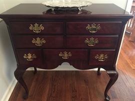"16.Henredon Mahogany 7 Drawer Sideboard w/ Cabriole Legs (38""x 18""x 38"")   Opens to 76"""