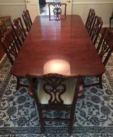 "13. Henredon Mahogany 2 Pedestal Dining Table w/ Three  22"" Leaves (74""x 45""x 30"")                                            14. 8 Henredon Dining Chairs w/ Cream Upholstery                                                        2 Arm Chairs (27""x 20""x 39"") 6 Side Chairs (21""x 18""x 40"")"