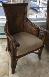 "22. Pair of Raymour & Flannigan Rattan and Bamboo Side Chairs w/ Taupe Cushions (25""x 24""x 39"")"
