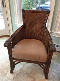 "24. Raymour & Flannigan Rattan and Bamboo Side Chair (33""x 38""x 41"")"