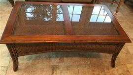 "27. Raymour & Flannigan Rattan and Bamboo Coffee Table w/ Glass Top Insets (50""x 30""x 20"")"