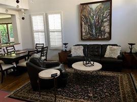 Quality designer Living room and dining room furniture, Large handmade Persian rug, bronzes, Restoration Hardware cage chandelier