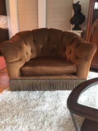 Designer Marge Carson Alexander chair .  Large shag area rug.