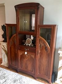 Authentic antique Art Nouveau sideboard cabinet with beautiful quality high relief grape vine carvings from the estate of Basket ball legend Kareem Abdul Jabber
