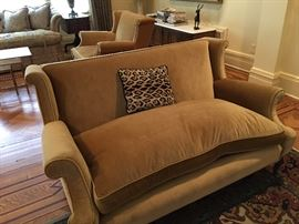 2 couches + matching chair like new recently re upholstered in custom gold velvet fabric.