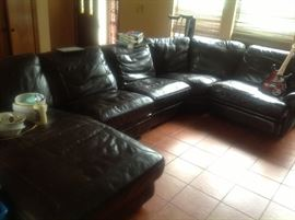 Brown leather sectional sofa