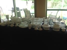 Large collection of milk glass. There is more!