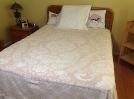 Queen bed, along with chest and triple dresser.