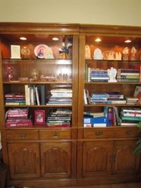 Pair of Thomasville bookcases-lighted with glass shelf on top