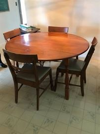 #6 Drop side round table, maple 54x25-54x30 w/4 chairs $199