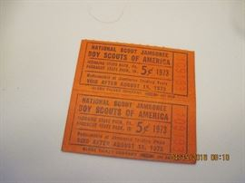 National Scout Jamboree Boy Scouts tickets 1973