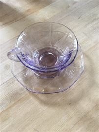 Depression cups and caucers set of 8