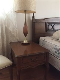 Queen bed (headboard, mattress set) nightstand and mid-century lamp