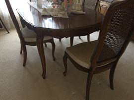 Dining Table and 6 chairs (2 arm, 4 side) - cane backs :  Drexel Heritage