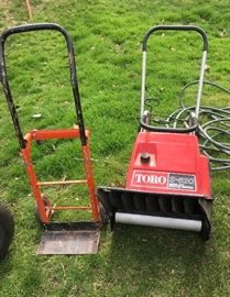 Toro snow blower and 2 wheel dolly