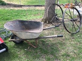 wagon wheels and wheel barrow