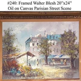 Art Blesh Walter Oil On Canvas Parisian Streeet Scene