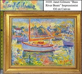 Art Gilmore Janet Oil On Canvas Impressionist Harbor Scene