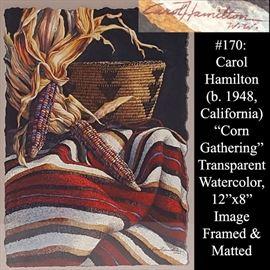 Art Hamilton Carol Waterdcolor Corn Gathering