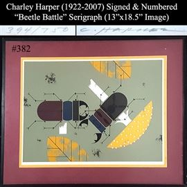 Art Harper Charley Signed Numbered Lithograph Beetle Battle
