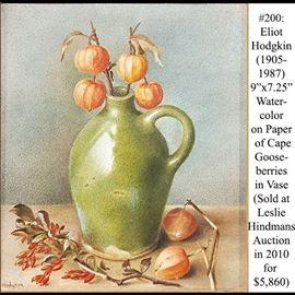 Art Hodgkin Eliot Watercolor Cape Gooseberries In Vase