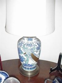 Pair of highly decorative porcelain lamps with Asian pheasants