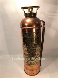 Antique brass fire extinguisher, KCMO