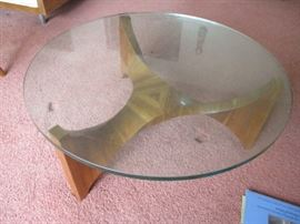 GLASS TOP TABLE WITH MULTI LAYERED WOOD BASE