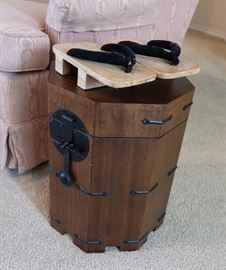 Asian Style End Table & Authentic Japanese Sandals