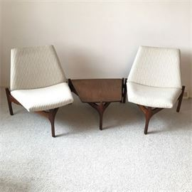 Brown Saltman Sculptural Modular Lounge Chairs w/ Attached Table