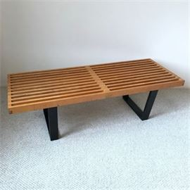 George Nelson for Herman Miller Style Midcentury Slat Style Bench